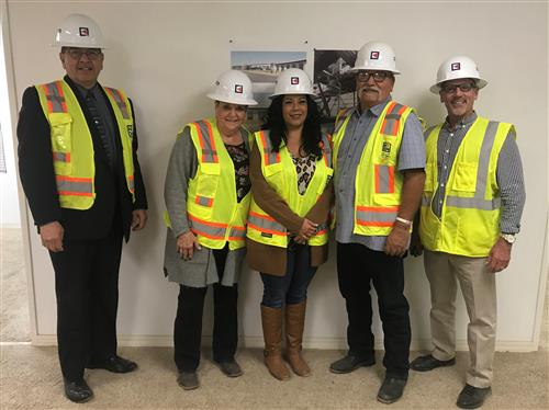Some Bond Oversight Committee members touring the new Matilda Torres High School.   (From left to right: Clerk Ruben Mendoza