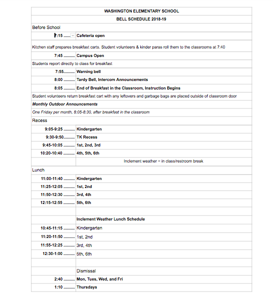Washington Elementary Bell Schedule / Overview
