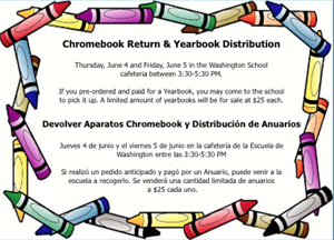 Chromebook Return and Yearbook Distribution