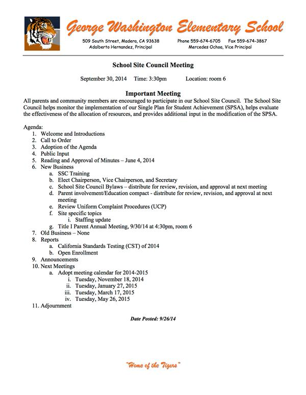School Site Council / Agendas 2014-2015