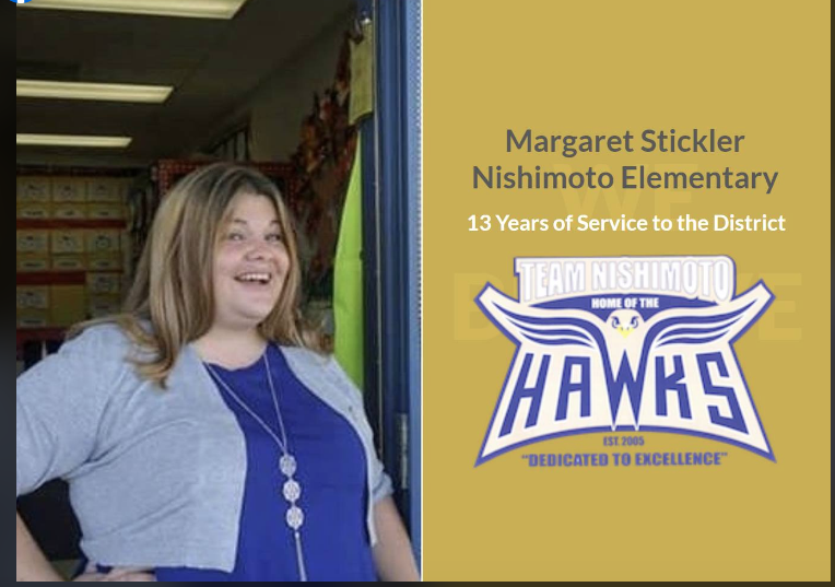 Congratulations to the 2019-2020 Nishimoto Teacher of the Year Mrs. Stickler!