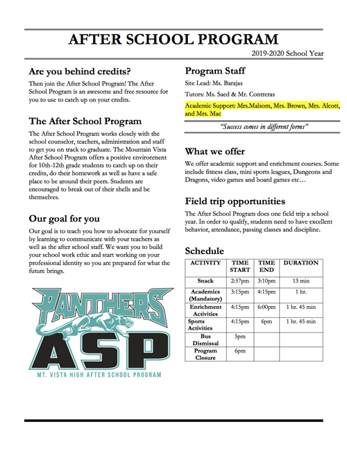 2019/20 After School Program