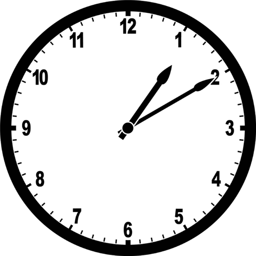 Image of analog clock displaying the time, 1:10 p.m.